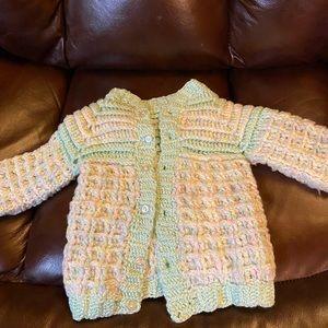 Hand crochet baby sweater